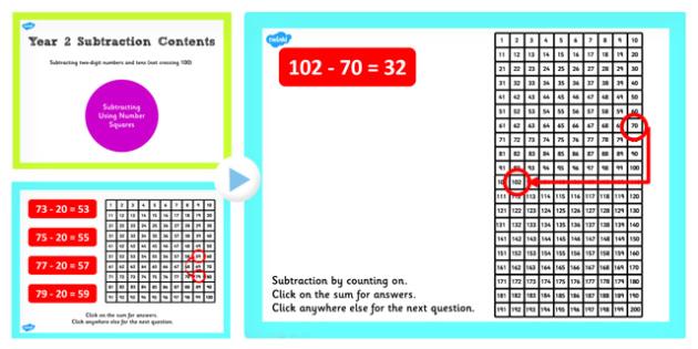 Y2 Subtract 2 Digit Number Ten Not Cross 100 Subtract Same Square