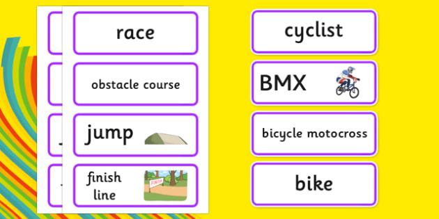 Rio 2016 Olympics BMX Cycling Word Cards - rio 2016, 2016 olympics, rio olympics, bmx cycling, bmx, cycling, word cards