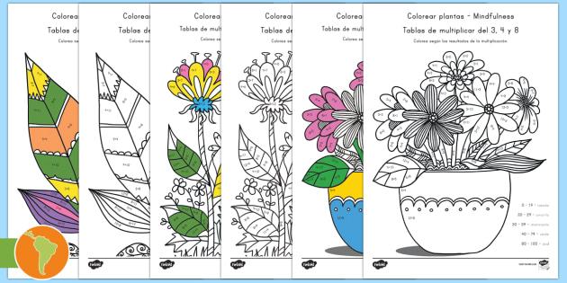 NEW * Hojas de colorear: Plantas con las tablas de multiplicar