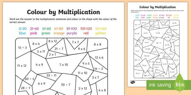 Colour by Multiplication and Division to 12 x 12 Activity Sheet - Colour by Multiplication to 12x12 Activity Worksheet - colour, multiplication, activity, worksheet,m