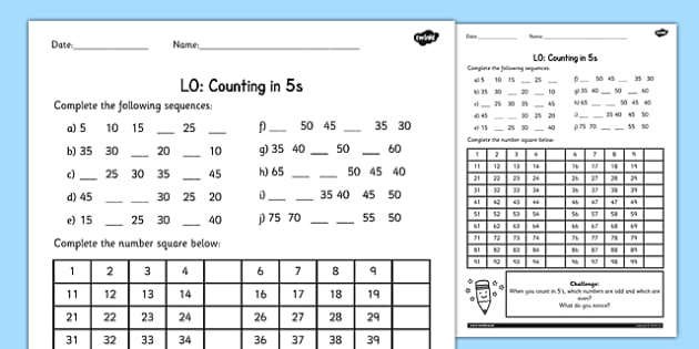 Counting in 5s Worksheet - counting, worksheet, 4, numbers