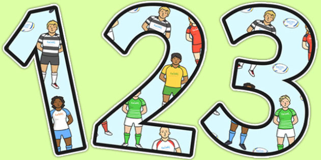 Rugby Themed A4 Display Numbers - rugby, display numbers, display