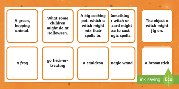 Halloween Matching Cards , questions and answers, card game
