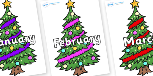 Months of the Year on Christmas Trees (Decorated) - Months of the Year, Months poster, Months display, display, poster, frieze, Months, month, January, February, March, April, May, June, July, August, September