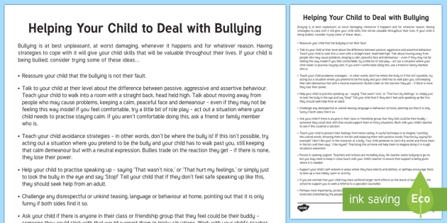 Helping Your Child to Deal with Bullying Parent and Carer Information Sheet - wellbeing, health, fitness, parents, carers, bullying, support, emotional health, mental health