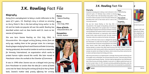 J.K. Rowling Differentiated Fact File