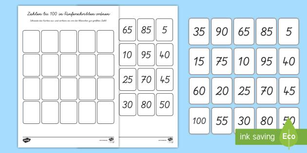 Zahlen bis 100 in Fünferschritten sortieren Arbeitsblatt