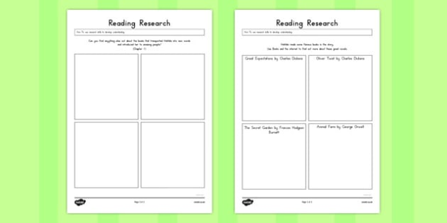 Reading Research Worksheet to Support Teaching on Matilda - australia, matilda, reading, research
