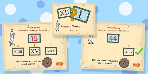 Roman Numerals Quiz PowerPoint - roman numerals, quiz powerpoint, powerpoint roman numerals powerpoint, classroom quiz, games, quizzes, numbers, numeracy