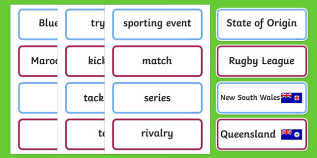 State of Origin Word Cards