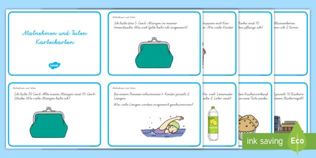 Malnehmen und Teilen : DIN A4 Karteikarten - Malnehmen und