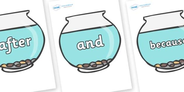 Connectives on Fish Bowls - Connectives, VCOP, connective resources, connectives display words, connective displays