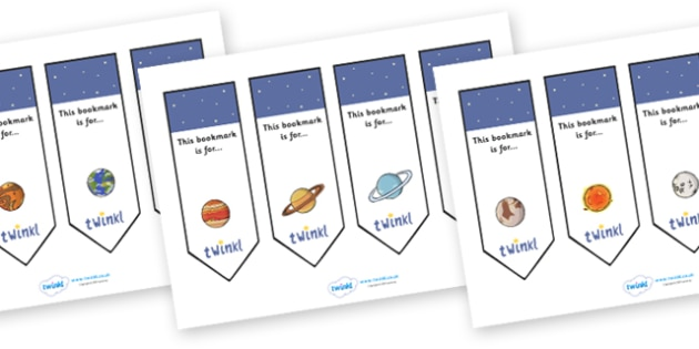 Space Themed Bookmarks - Bookmark, bookmark template, space, present, book, reward, achievement, space, moon, sun, earth, mars, ship, rocket, alien, launch, stars, planet, planets