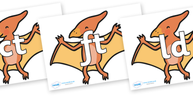 Final Letter Blends on Pterodactyl-Dinosaurs - Final Letters, final letter, letter blend, letter blends, consonant, consonants, digraph, trigraph, literacy, alphabet, letters, foundation stage literacy