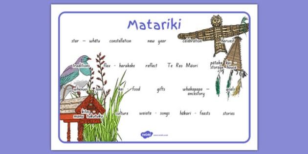 Matariki Word Mat - nz, new zealand, matariki, word mat, word, mat