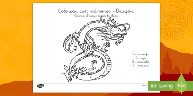 Colorear con números: Dragón - Año nuevo chino - año nuevo