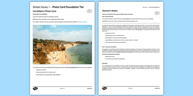 Travel and Tourism 1 Photo Card Foundation Tier Spanish - spanish, travel, tourism, holidays, photo-card, foundation, destinations