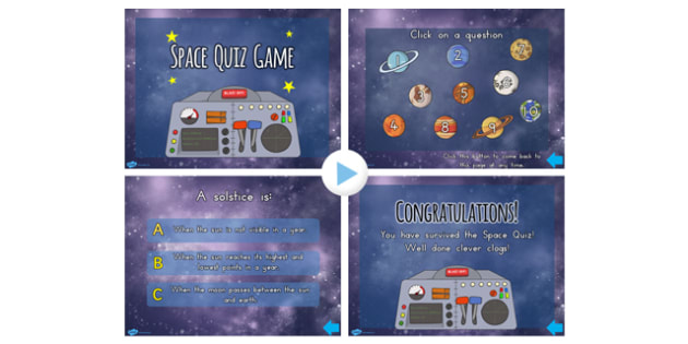 Space Quiz Multiple Choice Game PowerPoint - australia, choice