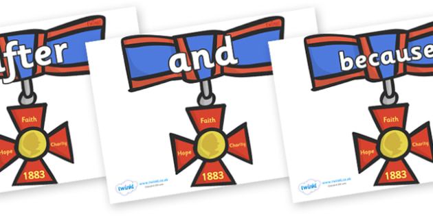 Connectives on Medals - Connectives, VCOP, connective resources, connectives display words, connective displays