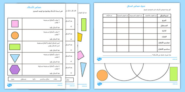 أنشطة خواص الأشكال الهندسية - الأشكال، رياضيات، أوراق عمل, worksheet