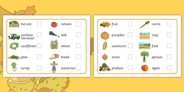 Harvest Pre-Teaching Vocabulary List - harvest, pre-teaching, vocabular list