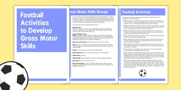 Football Gross Motor Skills Activities - Motor, Skills, Football