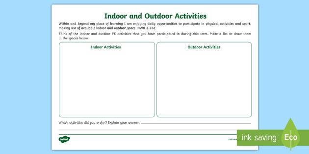 Cfe- First Level- Indoor and Outdoor Activities- Worksheet ...