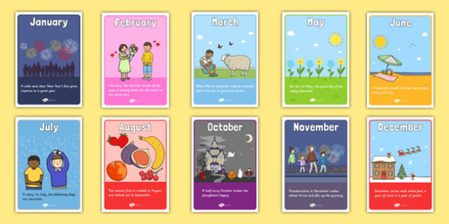 Posters with Proverbs about the Months - posters, proverbs, about, months