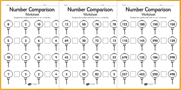Lower Ability Chinese Number Comparison Activity Sheet