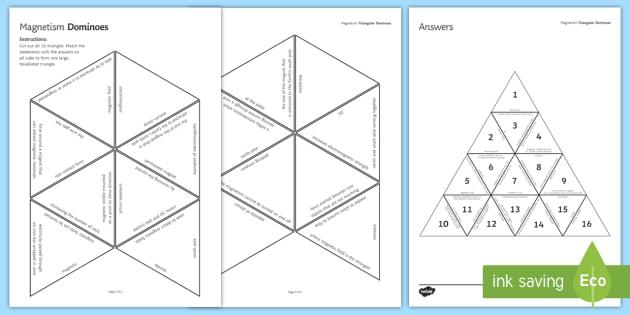 Magnetism Tarsia Triangular Dominoes - Tarsia, Magnetism, Magnet, Magnetic, Magnetic Field, Dominoes, Electromagnet, plenary activity