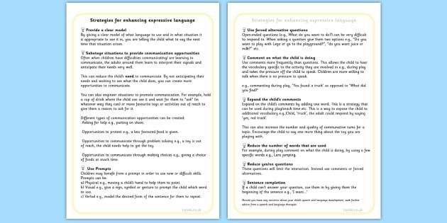 Strategies For Supporting Expressing Language Talking - SEN, talk