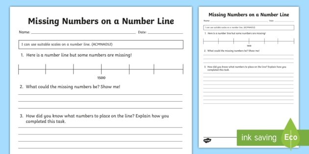 Year 3 Missing Numbers on a Number Line Open-Ended Worksheet /