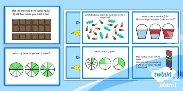 PlanIt Maths Y1 Fractions Challenge Cards