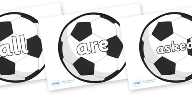 Tricky Words on Football - Tricky words, DfES Letters and Sounds, Letters and sounds, display, words