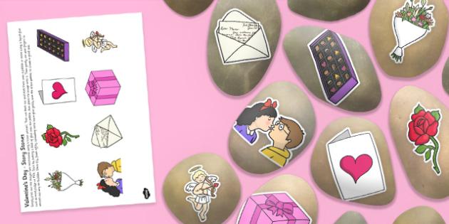 Valentine's Day Story Stone Image Cut Outs - Story stones, stone art, painted rocks, storytelling, festivals, celebrations