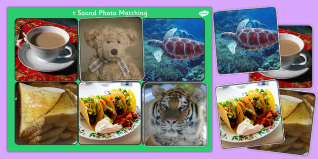 Initial t Sound Photo Matching Board and Cards - sounds, phonics