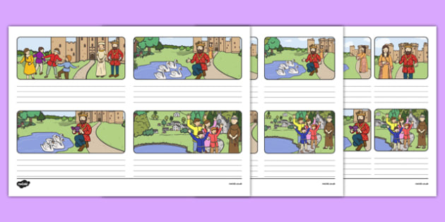 The Children of Lir Lined Storyboard Template - irish, gaeilge, storyboard template, children of lir