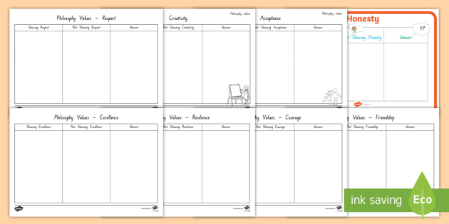 Philosophy Activity Pack - philosophy, activity pack, excellence, values, book idea, respect, courage, resilience, honesty, fri