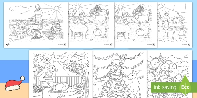 Aussie Christmas Colouring Pages Primary Resource