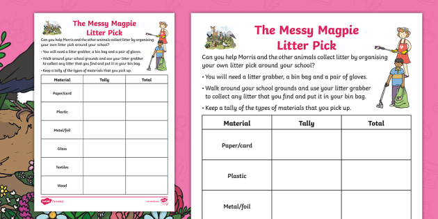 New  The Messy Magpie Litter Pick Tally Chart Activity