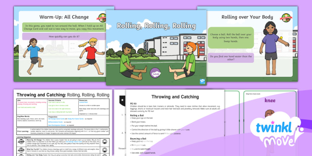Twinkl Move - Year 1 Throwing and Catching: Lesson 1 - Rolling, Rolling, Rolling  - Move, e, physical education, year 1, y1, ks1, planning, powerpoint, plan, throw, catch, ball skills