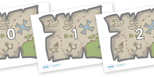 Numbers 0-50 on Treasure Maps - 0-50, foundation stage numeracy, Number recognition, Number flashcards, counting, number frieze, Display numbers, number posters