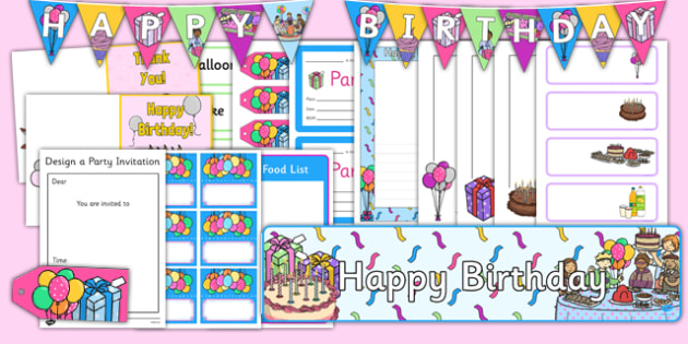 birthday role play pack birthdays gift tag name label food