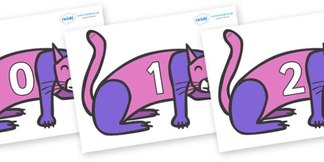Numbers 0-31 on Purple Cat to Support Teaching on Brown Bear, Brown Bear - 0-31, foundation stage numeracy, Number recognition, Number flashcards, counting, number frieze, Display numbers, number posters