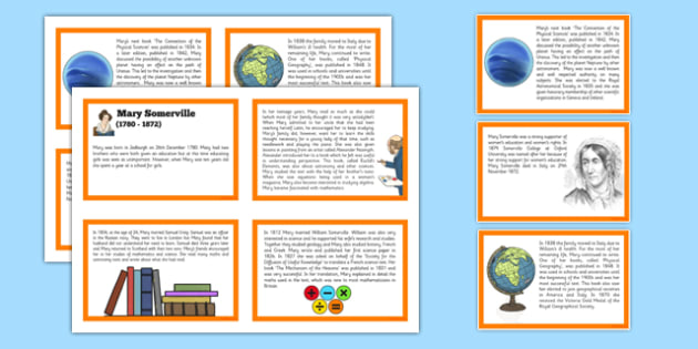 Scottish Significant Individuals Mary Somerville Sequencing Cards -CfE, significant individuals, women, science, maths, astronomy
