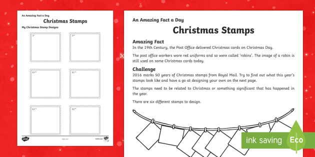 Amazing Fact a Day KS2 Countdown to Christmas Day 10 Christmas Stamps Activity Sheet, worksheet - Amazing Fact Of The Day, activity sheets, powerpoint, starter, morning activity, December, Christmas