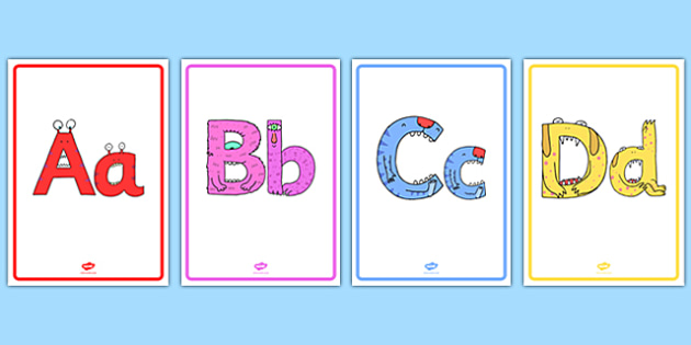 Monster Alphabet Display Posters - monster alphabet, monster, alphabet, display posters, display, posters