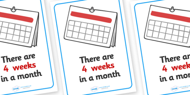 Visual Prompts Display Poster (Weeks In A Month) - weeks, months, visual prompt, aid, learning, 4 weeks, time, how many weeks in a month