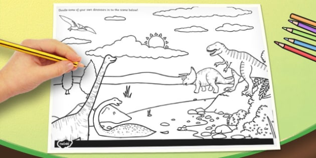 Dinosaur Themed Doodle Page - doodle, page, dinosaurs, dino