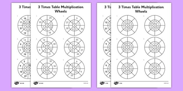 3 Times Table Multiplication Wheels Worksheet Activity Sheet